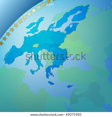 Abstract business blue background with europe map - stock vector