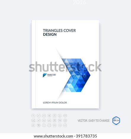 Abstract business brochure template layout, cover design report, magazine or booklet in A4 with blue dynamic polygonal arrows and geometric triangle shapes on white background. Vector. - stock vector