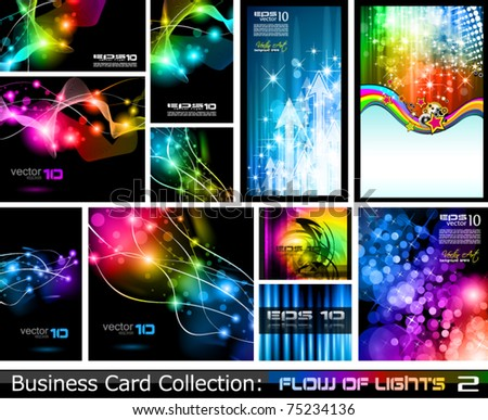 Abstract Business Card Collection: Flow of lights 2 - stock vector