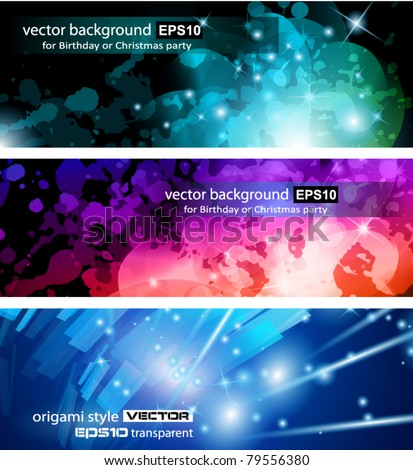 Abstract Business Card Collection: Flow of lights header backgrounds with abstract motive and rainbow colurs - stock vector
