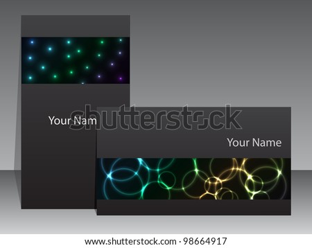 Abstract business card design with plasma effects
