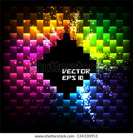 Abstract Business Card. Salute- vector isolated on black background - stock vector