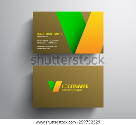 Abstract business card template, clean and modern style design. Logo, logotype, brand, branding, identity, company  - stock vector