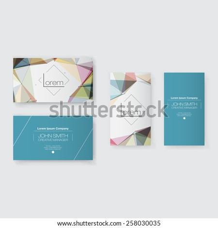 Abstract Business Card Template Set | Modern Vector Design - stock vector