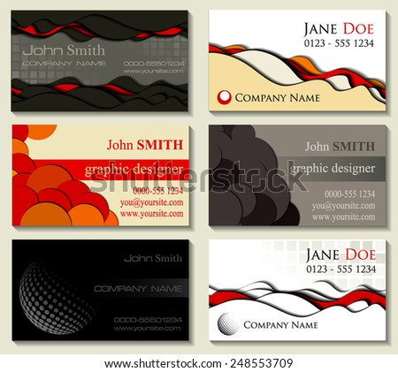 Abstract business cards kit of six designs with cutout elements. Vector illustration - stock vector