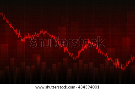 Abstract Business chart with downtrend line graph, bar chart and stock numbers in bear market on dark red background (vector)