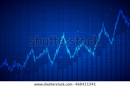 Abstract Business chart with uptrend line graph and bar chart in bull market on dark blue color background (vector)