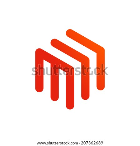 Abstract business design template logo icon with letter M. Vector color emblem sign. - stock vector