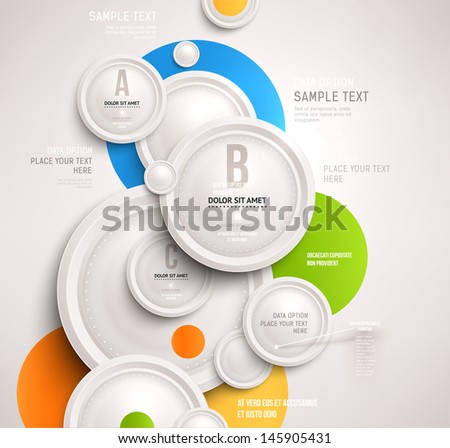 Abstract business geometrical design with paper circles - stock vector