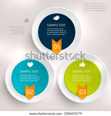 Abstract business geometrical design with paper circles. Love icon. Hand icon. People icon. Bird icon. Arrow.