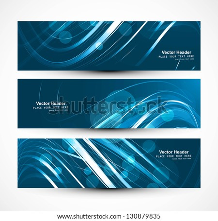 Abstract business header bright colorful blue wave whit vector - stock vector
