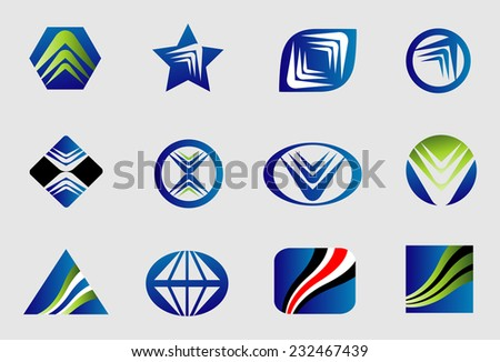 Abstract business logo sign set  - stock vector