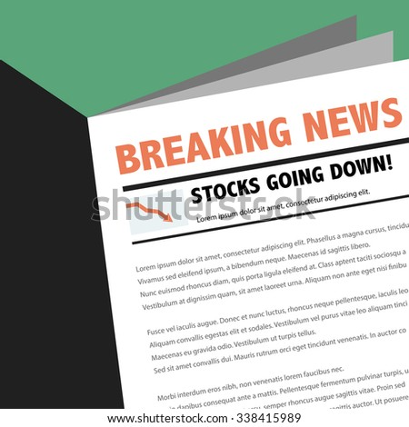 Abstract business news newspaper with breaking news article. Stocks going down. - stock vector