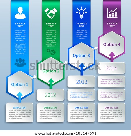 Abstract business paper chart infographics design template with option bookmarks ladder arrows and business icons vector illustration - stock vector