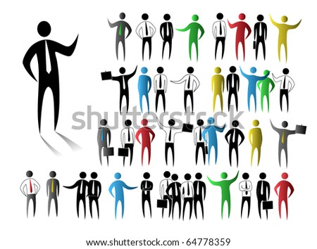 Abstract business people figures - stock vector