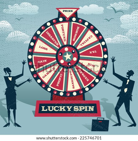 Abstract Business people with Financial Wheel of Fortune. Abstract Business take the ultimate gamble on the business futures by playing on the Financial Wheel of Fortune.  - stock vector