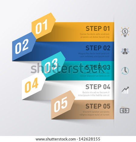 Abstract business process infographics template. Vector. - stock vector