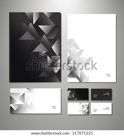 Abstract business set. Corporate identity templates: blank, business cards, badge, envelope. Vector illustration - stock vector