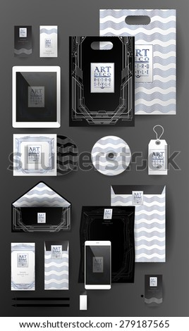 Abstract  business set in Art deco style .Corporate identity templates, card, disk, package, label, envelope, pen, Tablet PC, Mobile Phone, pencil, folders for documents, invitation card - stock vector