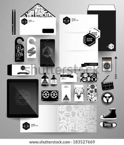 Abstract  business set in hipster style. Corporate identity templates: blank, business cards, badge, envelope, pen, Folder for documents, Tablet PC,  Mobile Phone - stock vector