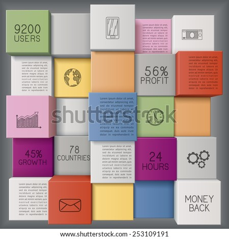 Abstract business template or user interface with colorful cubes/infographic  template with copy space, EPS 10 contains transparency. - stock vector