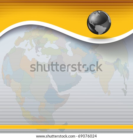 Abstract business yellow background with globe and earth map - stock vector