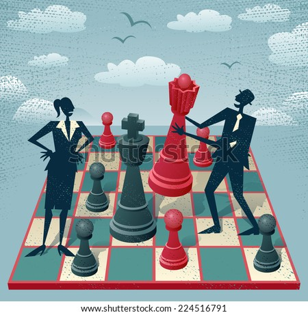 Abstract Businessman and Businesswoman play a game of Chess. Great illustration of Retro styled Business people playing a game of Chess on a huge Chessboard.  - stock vector