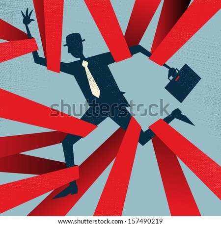 Abstract Businessman caught in Red Tape. Vector illustration of Retro styled Abstract Businessman caught up in bureaucratic red tape. - stock vector