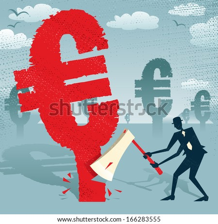 Abstract Businessman cuts down the Euro.  Great illustration of Retro styled Businessman cutting down a giant European Euro Tree with his razor sharp Axe.  - stock vector
