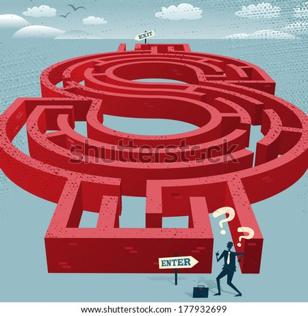Abstract Businessman enters a Dollar Maze. Great illustration of Retro styled Businessman with a very difficult task ahead of him to find his way through a Dollar Shaped maze to the other side. - stock vector