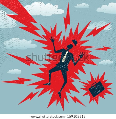 Abstract Businessman has a Big Shock. Vector illustration of Retro styled Businessman who has got a big shock from a huge bolt of lightening. - stock vector