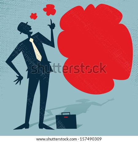 Abstract Businessman has an Idea. Vector illustration of Retro styled Businessman standing next to a huge thought bubble. - stock vector