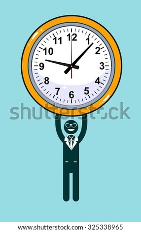 Abstract Businessman holding Time. Vector illustration of Retro styled Businessman desperately trying to hold back time so he can make an important deadline.