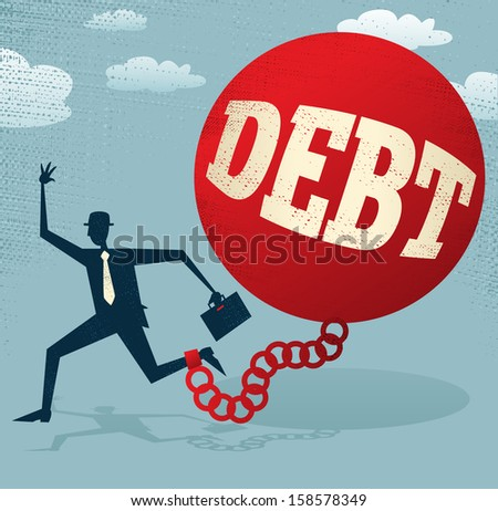 Abstract Businessman locked in a DEBT Ball and Chain. Vector illustration of Retro styled Abstract Businessman caught up in a bureaucratic chain and ball. - stock vector