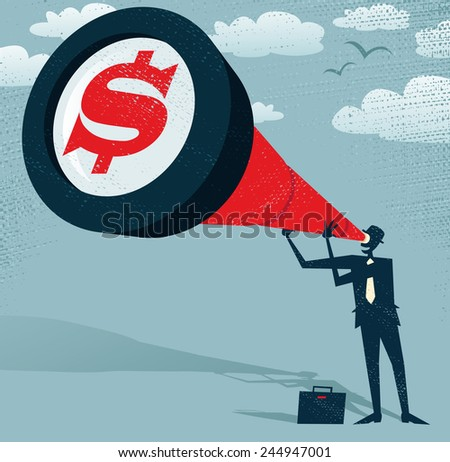 Abstract Businessman looks through his Telescope to find the Dollar. Retro styled Businessman who's getting a really great view of the business landscape with his gigantic telescope. - stock vector