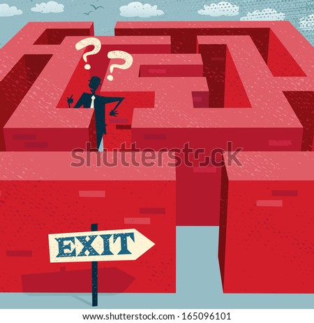 Abstract Businessman Lost in a difficult Maze. Great illustration of Retro styled Businessman with a very difficult task ahead of him to find his way through a maze to the other side. - stock vector