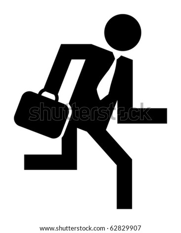 Abstract businessman running icon, vector illustration - stock vector