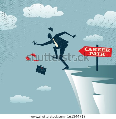 Abstract Businessman's career takes a fall. Vector illustration of Retro styled Businessman falls off a cliff as his career takes a fall. - stock vector