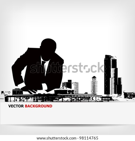 abstract businessman silhouette background - vector illustration - stock vector