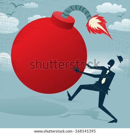 Abstract Businessman with Huge Bomb.  Great illustration of Retro styled Businessman running for his dear life to get rid of the gigantic metaphorical bomb. - stock vector