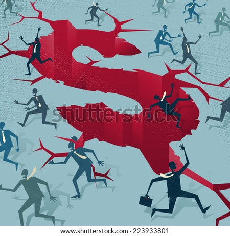 Abstract Businessmen run from a Financial Disaster. Great illustration of Retro styled Businessmen running to safety from an impending financial disaster. - stock vector