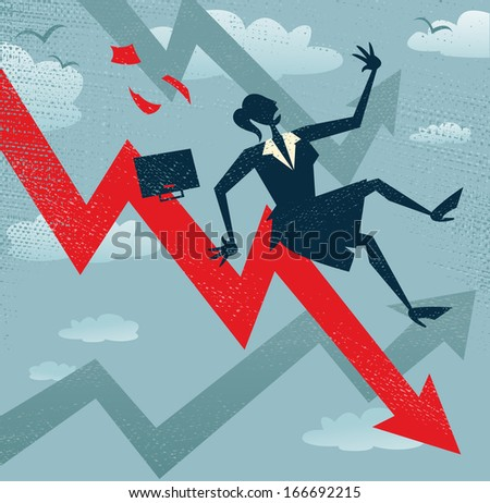 Abstract Businesswoman Falls down the Sales Chart. Great illustration of a Retro styled Businesswoman Tumbling down to the bottom of the corporate Sales Charts.