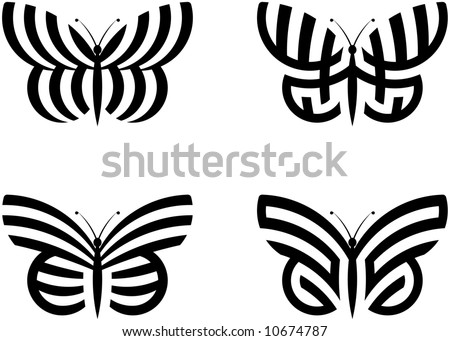 Abstract Butterflies - stock vector