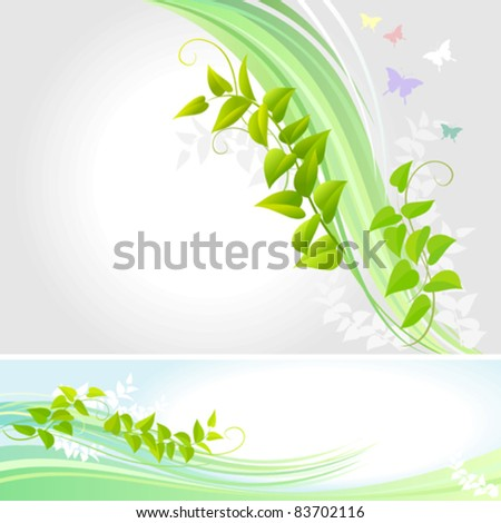 Abstract Butterflies And a Creeper - Vector Background