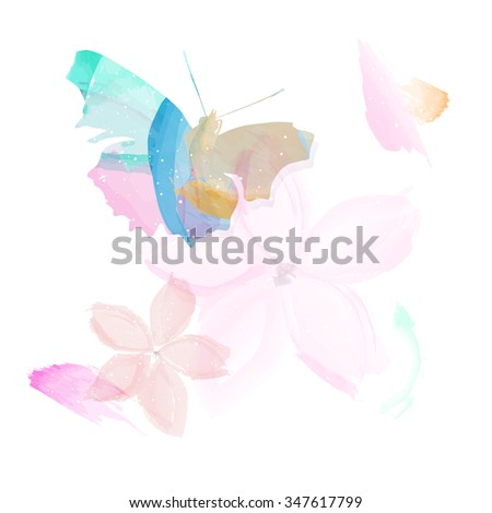 Abstract butterfly and flowers - watercolor style. Vector illustration. - stock vector