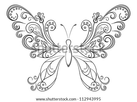 Abstract butterfly, black contour silhouettes on white background. Vector - stock vector