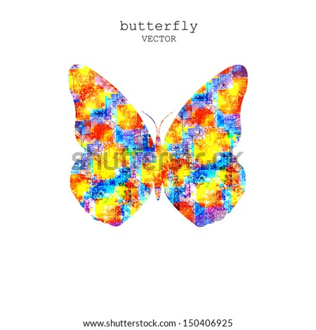 abstract butterfly, easy all editable - stock vector