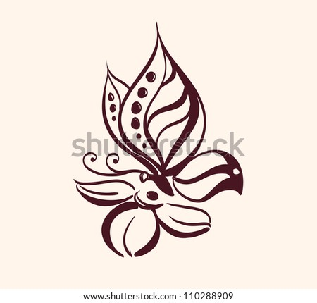 Abstract butterfly on flower vector illustration  isolated