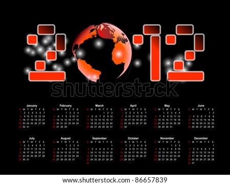 Abstract calendar 2012, 2013 - stock vector