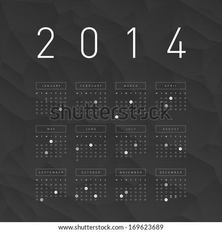 Abstract 2014 Calendar / EPS10 Vector Illustration / - stock vector